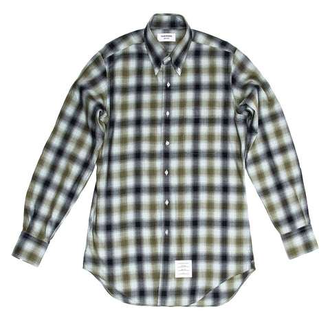 Thom Browne Blue & Green Plaid Shirt For Man, size 4