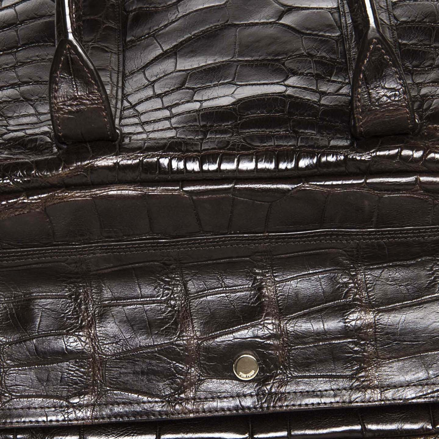 Tom Ford Brown Crocodile Oversized Travel Bag