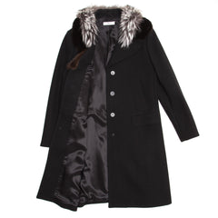 Find an authentic preowned Prada Black Wool & Fur Collar Coat size 46 (Italian) at BunnyJack, where up to 50% of each sale price is donated to charity.