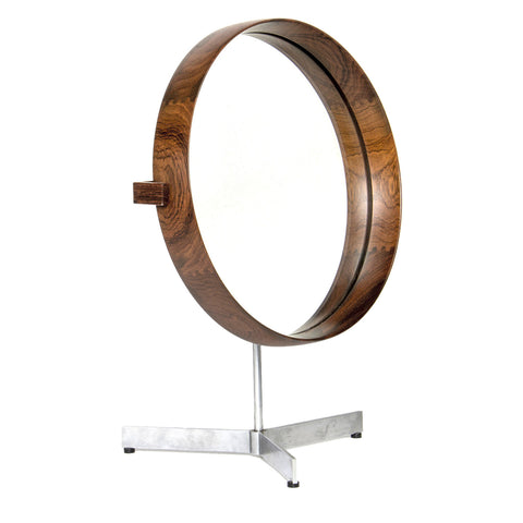 Dark Wood Mid-Century Mirror