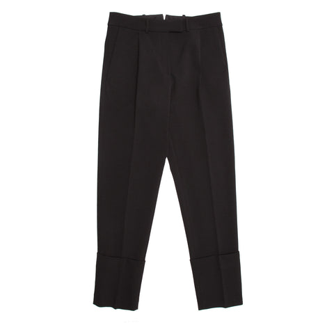 Black Wool Cropped Pleated Pants