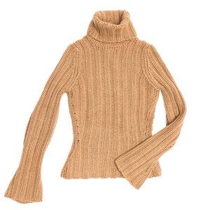YSL Camel Cashmere Turtleneck Sweater, Size L