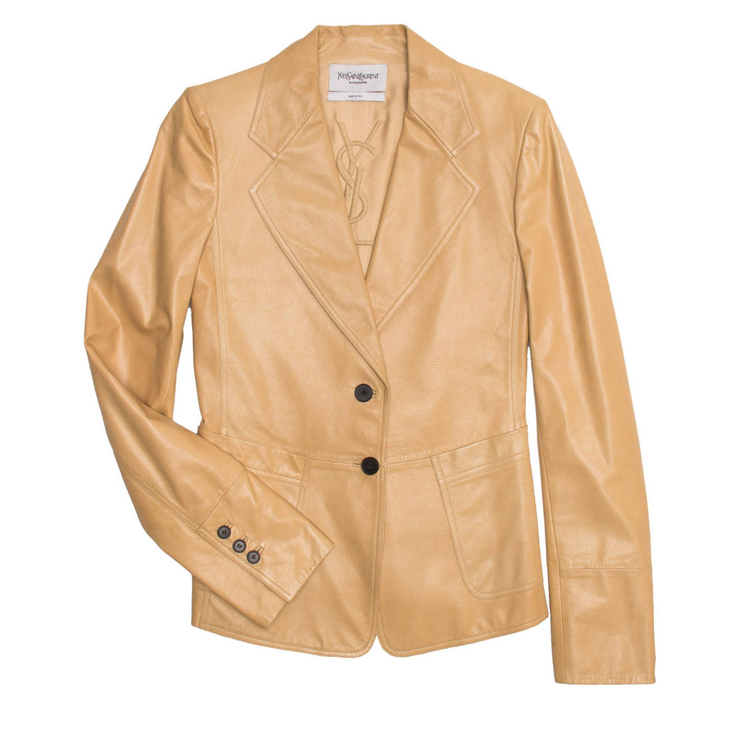 YSL Tan Leather Fitted Blazer, Size 40 (French)