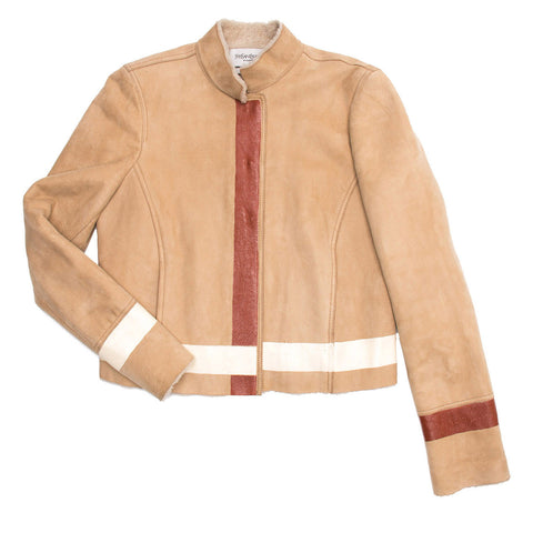 YSL Tan Shearling Short Jacket, Size 40