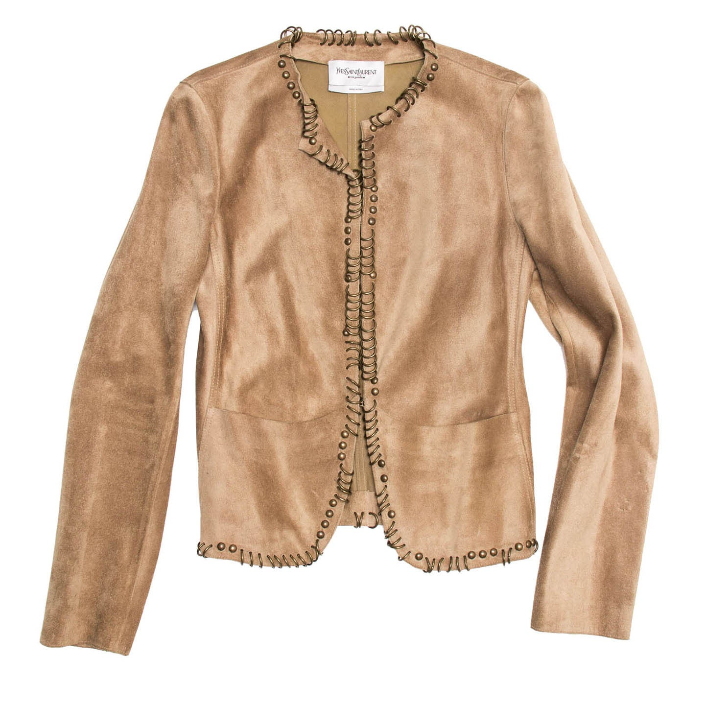 YSL Tan Suede Jacket With Rings, Size 42 (French)
