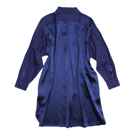 YSL Royal Blue Silk Shirt Dress, Size 38 (French)
