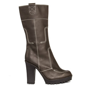 YSL Brown Leather Chunky Heel Boots, Size 41 (Italian)