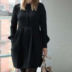 Black Mandarin Collared Dress