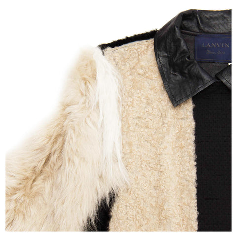 Find an authentic preowned Lanvin Black & Beige Fur Jacket, size 36 (French) at BunnyJack, where a portion of every sale goes to charity.