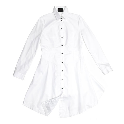 White Plain Cotton Shirtdress