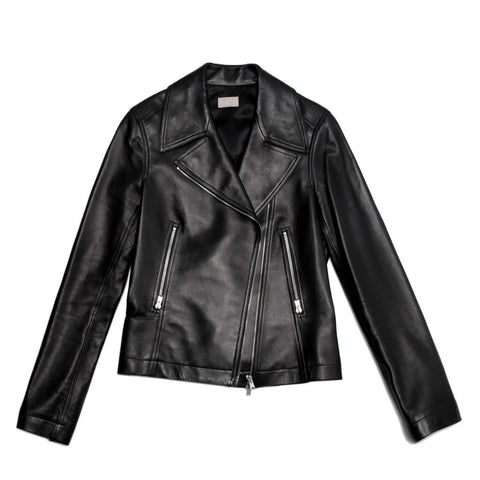 Alaia Black Leather Moto Jacket, size 42 (French)