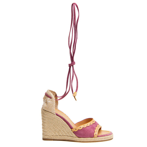 Louis Vuitton Purple Suede & Tan Leather Wedges, Size 40 (Italian)