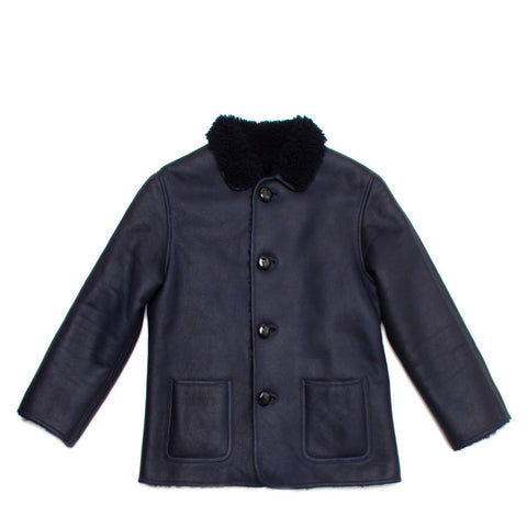 Find an authentic preowned Celine Dark Blue Reversible Lambskin Coat, size 40 (French) at BunnyJack, where a portion of every sale goes to charity.