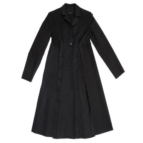 Black Cotton Princess Cut Coat