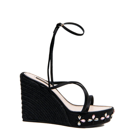Louis Vuitton Black Satin & Crystals Wedges, Size 40 (Italian)