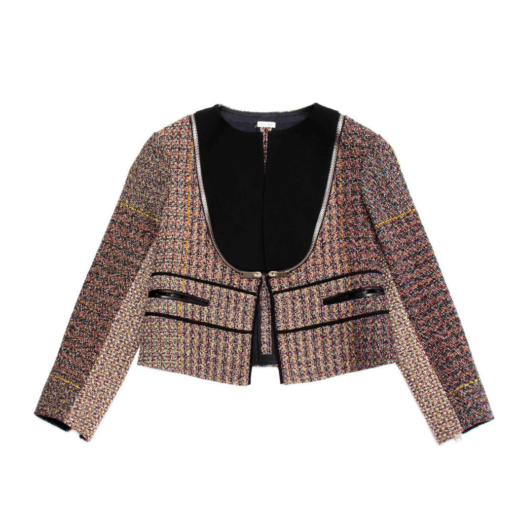 Find an authentic preowned Celine Multicolor Wool Cropped Jacket, size 42 (French) at BunnyJack, where a portion of every sale goes to charity.