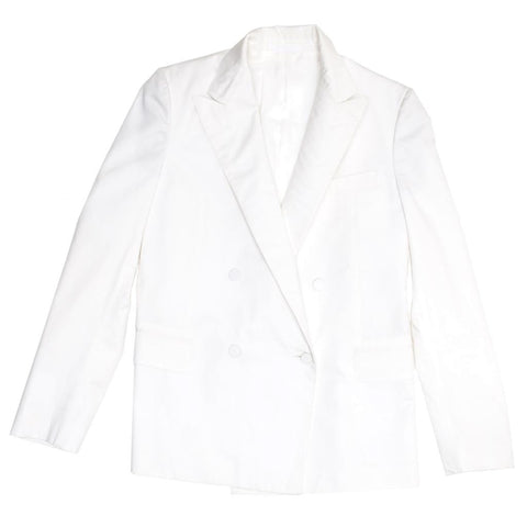 Find an authentic preowned Lanvin White Cotton Boxy Blazer, size 42 (French) at BunnyJack, where a portion of every sale goes to charity.