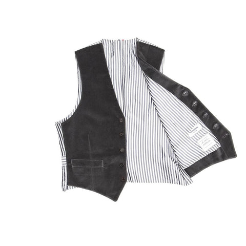 Find an authentic preowned Thom Browne Grey Velvet Vest size 1 at BunnyJack, where a portion of every sale goes to charity.