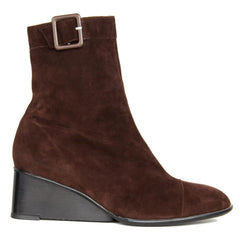 Brown Suede Wedge Ankle Boots