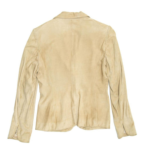 Find an authentic preowned Gucci Beige Jacket With Gold Clasps, size 44 (Italian) at BunnyJack, where a portion of every sale goes to charity.