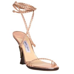 Pink Lace-Up Wedge Sandal