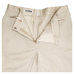 Find authentic preowned Jil Sander Khaki Cotton Stretch Pants, size 40 (French) at BunnyJack, where a portion of every sale goes to charity.