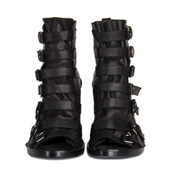 Find an authentic preowned Ann Demeulemeester Black Open Front Ankle Boots, size 40 (Italian) at BunnyJack.