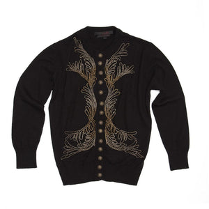 L'Wren Scott Black & Gold Cashmere Cardigan