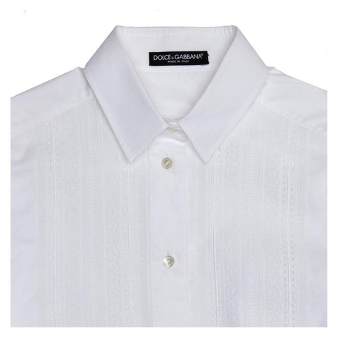 Find an authentic preowned Dolce & Gabbana White Cotton & Lace Shirt, size 44 (Italian) at BunnyJack.