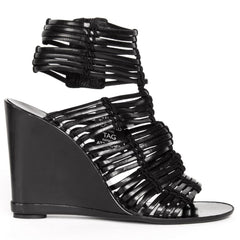 Black Leather Wedge Sandals