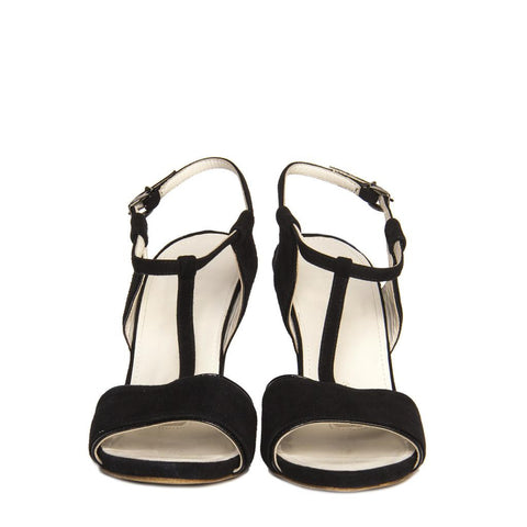 Jil Sanders Black Suede & Leather Wedge Sandals, size 41 (Italian)