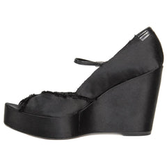 Black Satin Peep Toe Wedges