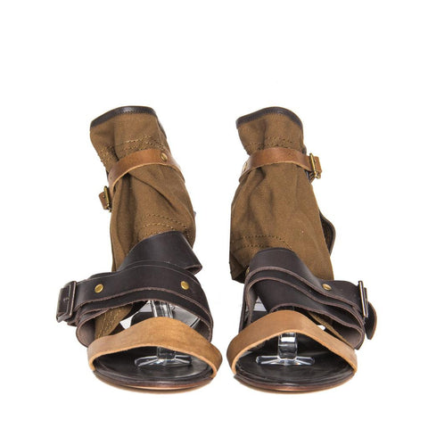 Chloe Brown Shades Leather & Canvas Sandals, Size 40 (Italian)