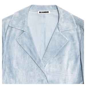 Find an authentic preowned Jil Sander Blue Suede Cropped Blazer, size 40 (French) at BunnyJack, where a portion of every sale goes to charity.
