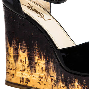 YSL Black Patent Leather & Cork Wedges, Size 40.5 (Italian)