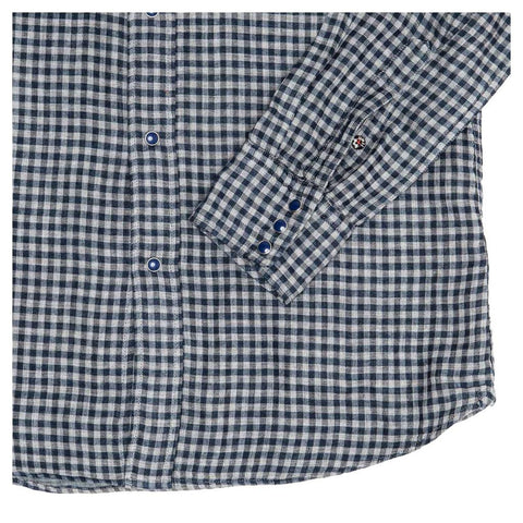 Find an authentic preowned 45 RPM Blue & Grey Checked Shirt For Man, size 4 at BunnyJack.