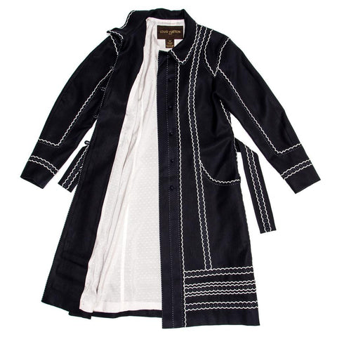 Louis Vuitton Dark Blue & White Cotton Coat, Size 42 (French)