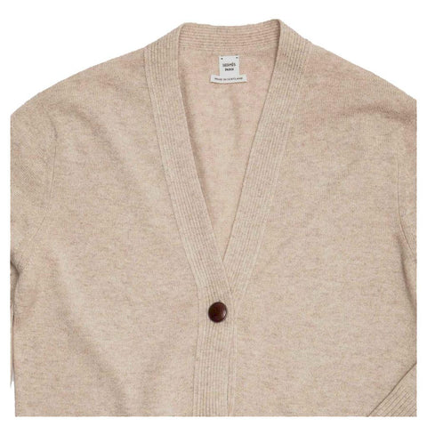 Find an authentic preowned Hermès Ecru Cashmere Long Cardigan, size 40 (French) at BunnyJack, where a portion of every sale goes to charity.