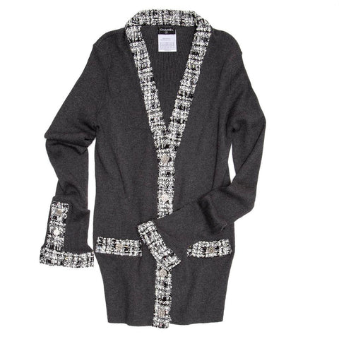 Find an authentic preowned Chanel Grey Cotton Long Cardigan, size 40 (French) at BunnyJack, where every sale triggers a charity donation.