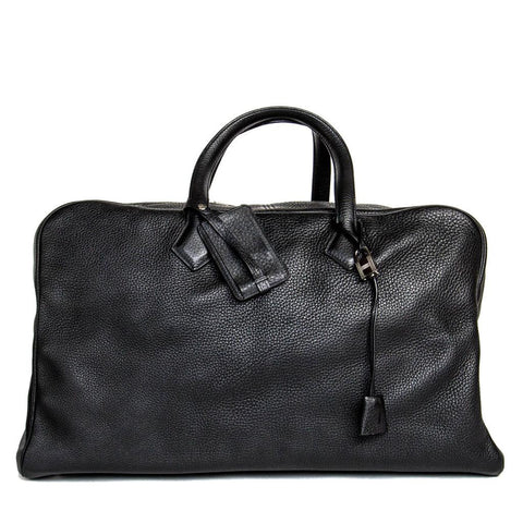 Find an authentic preowned Hermès Black Leather Victoria II Travel Bag at BunnyJack, where a portion of every sale goes to charity.