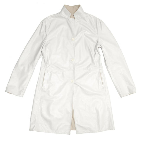 Find an authentic preowned Jil Sander White Leather Reversible Coat, size 42 (French) at BunnyJack, where a portion of every sale goes to charity.