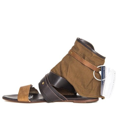 Brown Shades Leather & Canvas Sandals