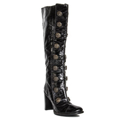 Find an authentic preowned Dolce & Gabbana Black Eel Skin Boots, size 41 (Italian) at BunnyJack.