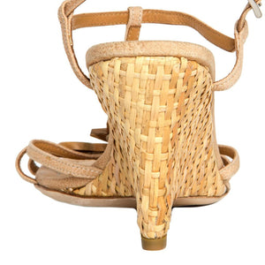 Find an authentic preowned Prada Tan Leather & Rattan Wedge size 40 (Italian) at BunnyJack, where up to 50% of each sale price is donated to charity.