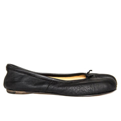 Black Leather Tabi Flats