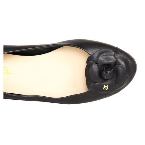 Find an authentic pair of preowned Chanel Black Leather Ballerina Flats, size 41 (Italian) at BunnyJack, where a portion of every sale goes to charity.