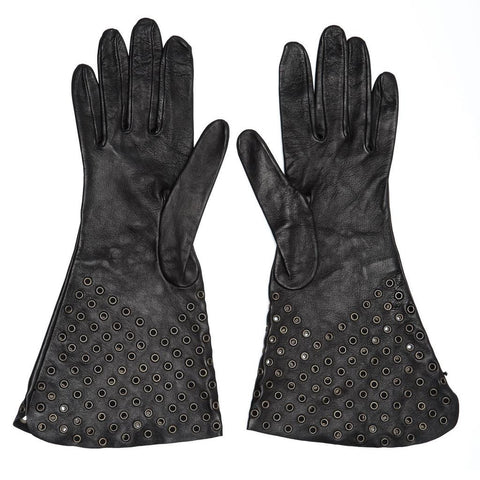 Find authentic preowned Azzedine Alaia Black Leather Gloves With Eyelets at BunnyJack, where a portion of every sale goes to charity.