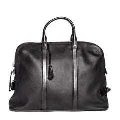 Black Leather Oversized Travel Bag