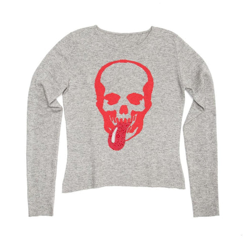 Grey Cashmere Skull Sweater