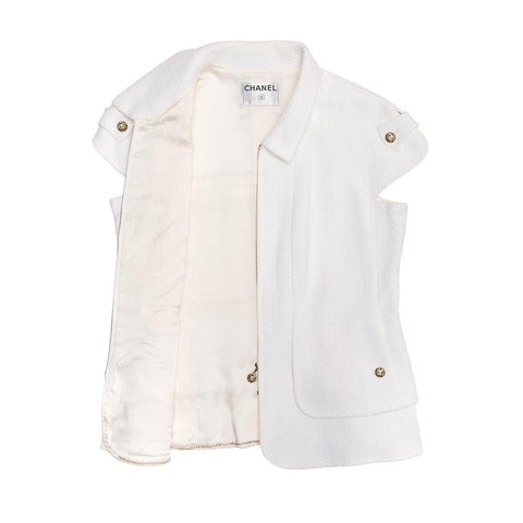 Find an authentic preowned Chanel White Thick Pique Cotton Zip Jacket, size 40 (French) at BunnyJack, where every sale triggers a charity donation.